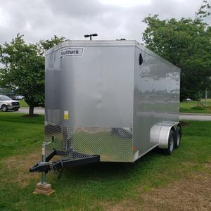 Haulmark 7x14 Tandem Axle Enclosed Cargo Trailer w/ Rear Ramp and 78