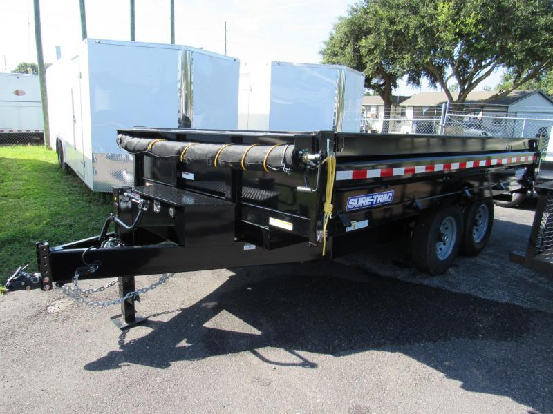 2019 Sure-Trac 8x14 Deckover Dump Trailer with Drop Down Sides