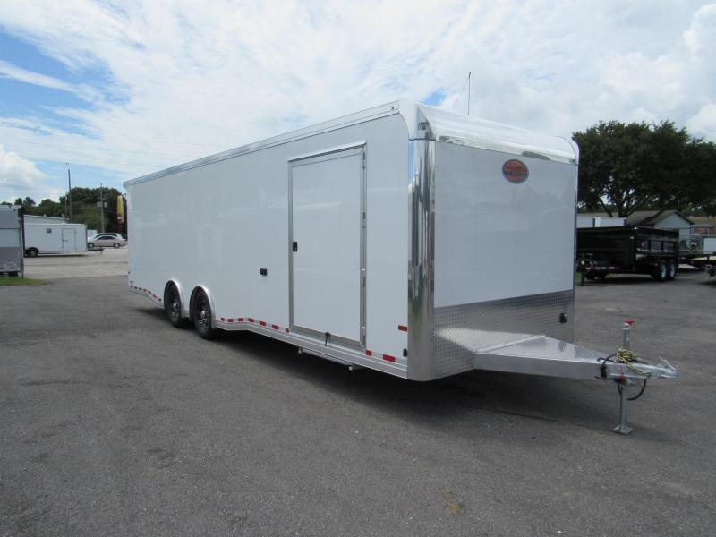 2019 Sundowner 28 ft Car / Racing Trailer With Road Side Cabinets