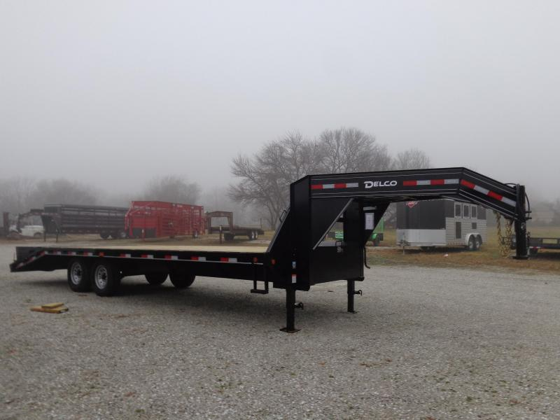 Delco 102 x 20'+5' Gooseneck 14000 Deckover Equipment Trailer W/ MAX Ramps