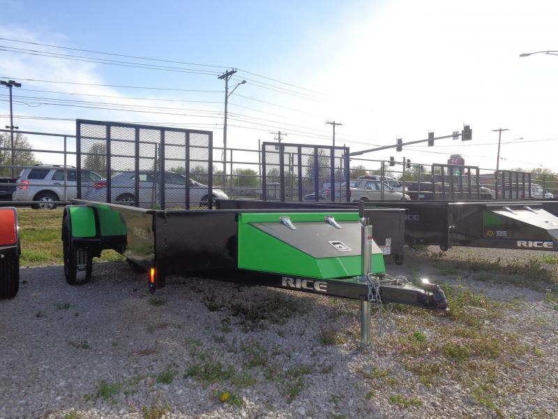 Rice 76 x 12' Bumper Pull Stealth Black with NEON Green-Out Utility Trailer