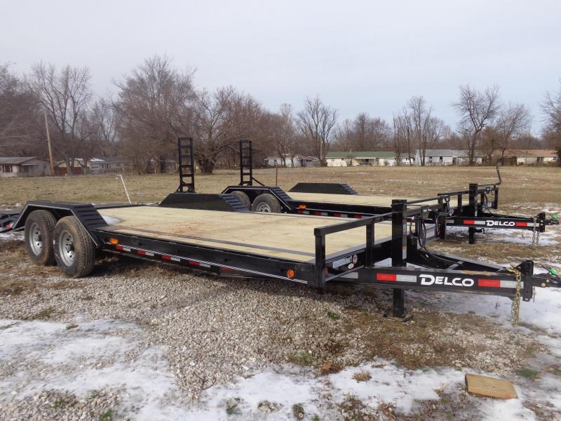 """Delco 102"""" x 18'+4' Dovetail Bumper Pull 14000# Flatbed"""