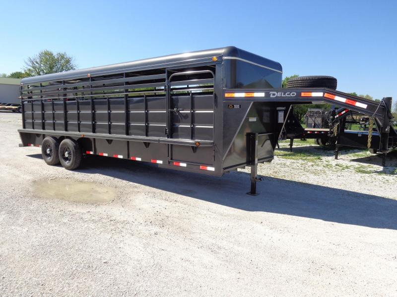 Delco 24' x 6'8 Metal Top Dark Gray Powder Coat Gooseneck Stock Trailer
