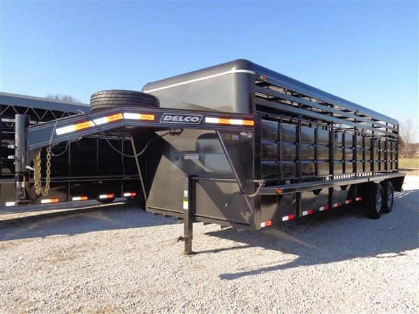 Delco 24' x 6'8 Gooseneck Stock Trailer Metal Top Dark Gray Powder Coat