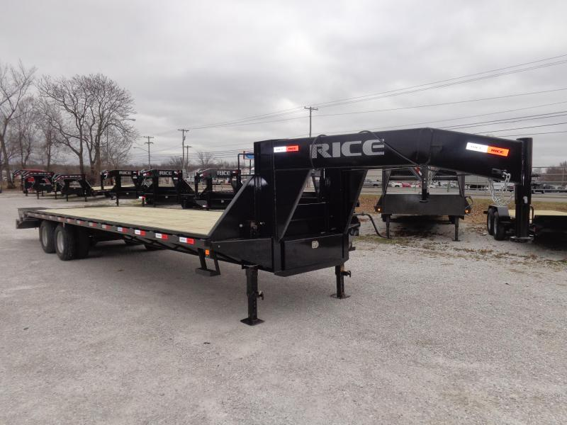 Rice 102 x 27'+5' 22000# Gooseneck Deckover Tandem Dual W/ 2 FoldOver Ramps & Center Pop-Up