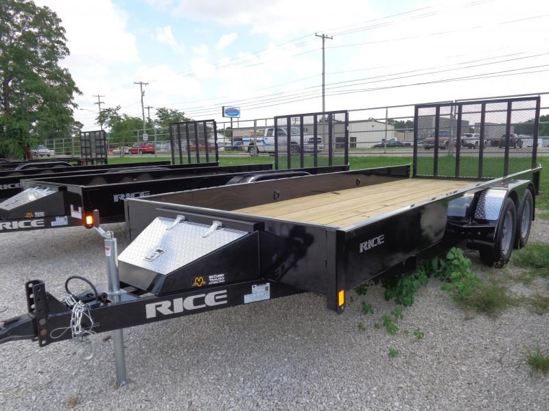 Rice 76 x 18' Tandem Stealth Black Bumper Pull Utility Trailer