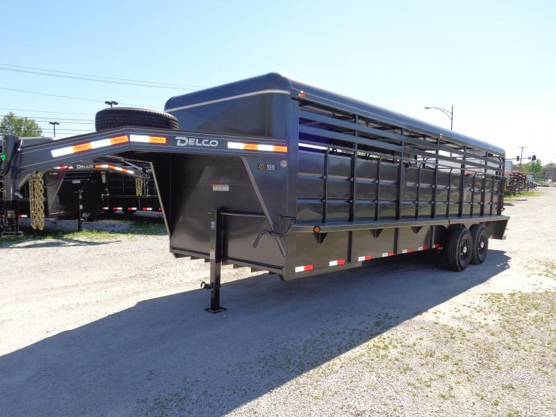 Delco 24' x 6'8 Metal Top Dark Gray Powder Coated Gooseneck Livestock Trailer