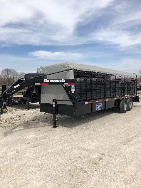 "Gooseneck Brand 24' x 6'8"" Gooseneck Stock Trailer Black with Gray Tarp"