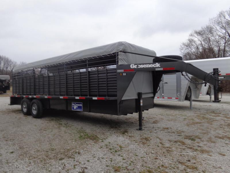 "Gooseneck Brand 24' x 6'8"" Gooseneck Stock Trailer Dark Shadow Gray Metallic with Gray Tarp"