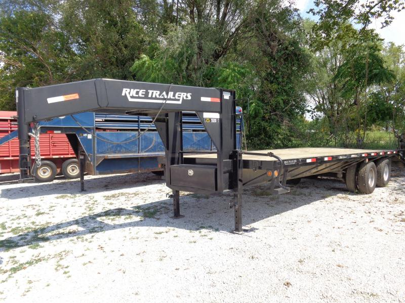 Used 2014 Rice 20+5 Gooseneck Deckover Tandem Dual Equipment Trailer