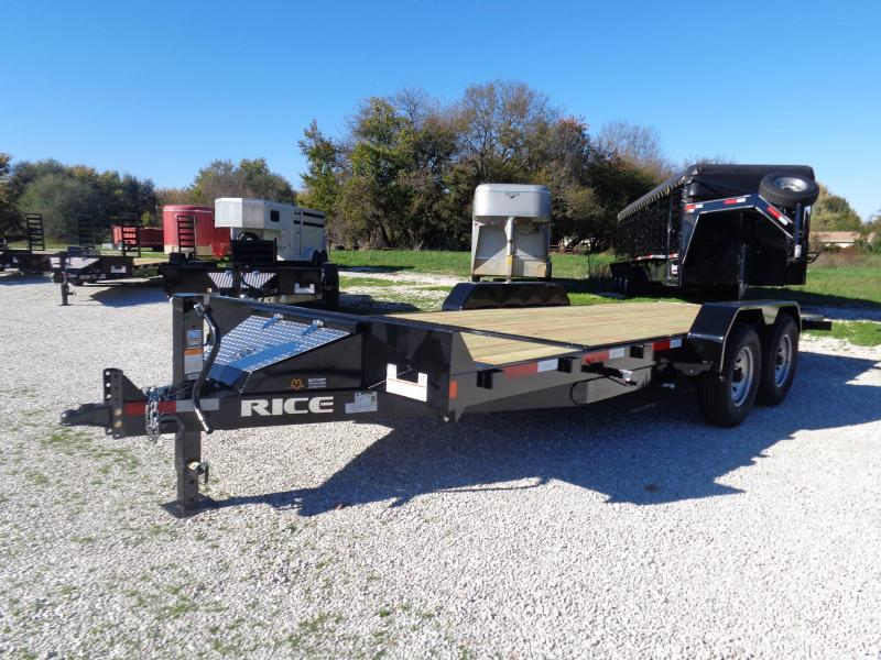 "Rice 82"" x 16'+6' Bumper Pull 14000# Partial Tilt Heavy Duty Flatbed"