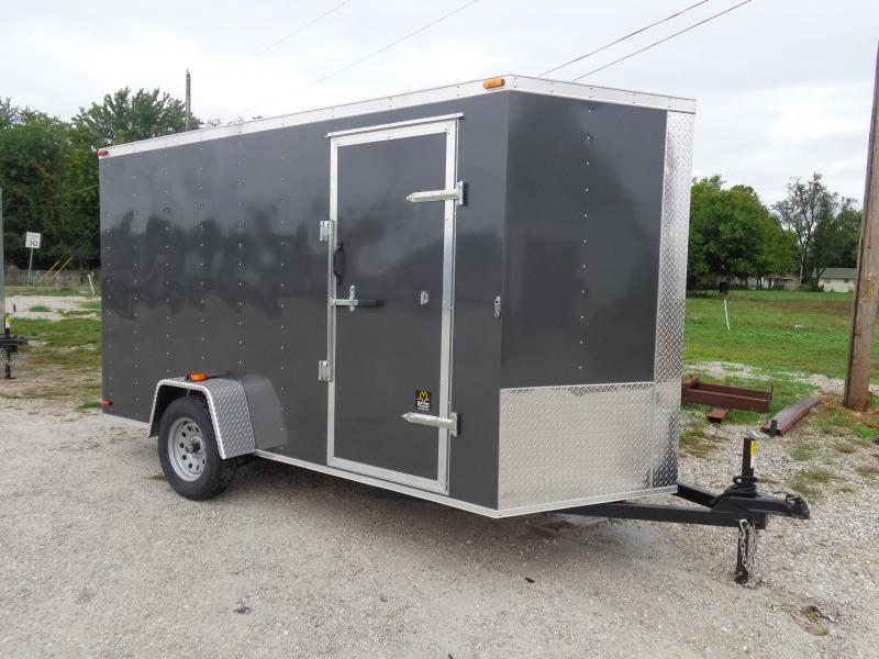 Box Cargo 6' x 12' Dark Gray Bumper Pull Enclosed Cargo Trailer