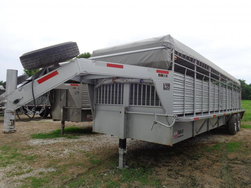 USED 2016 W-W 28' x 6'8 Silver with Light Gray Tarp Livestock Trailer
