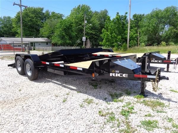 Rice 16'+6' Bumper Pull 14000# Partial Tilt Heavy Duty Flatbed