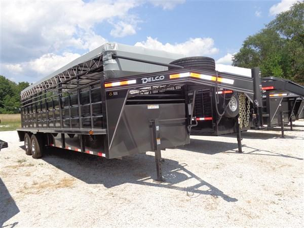 "Delco 24' x 6'8"" Gooseneck Stock Trailer Dark Gray w/Light Gray Tarp"