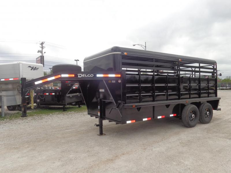 Delco 16' x 6'8 Metal Black Powder Coat Gooseneck Stock Trailer