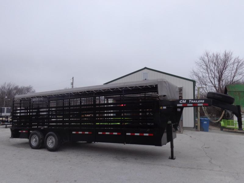 "USED 2017 CM 24' x 6'8"" Gooseneck Stock Trailer Black with Light Gray Tarp"
