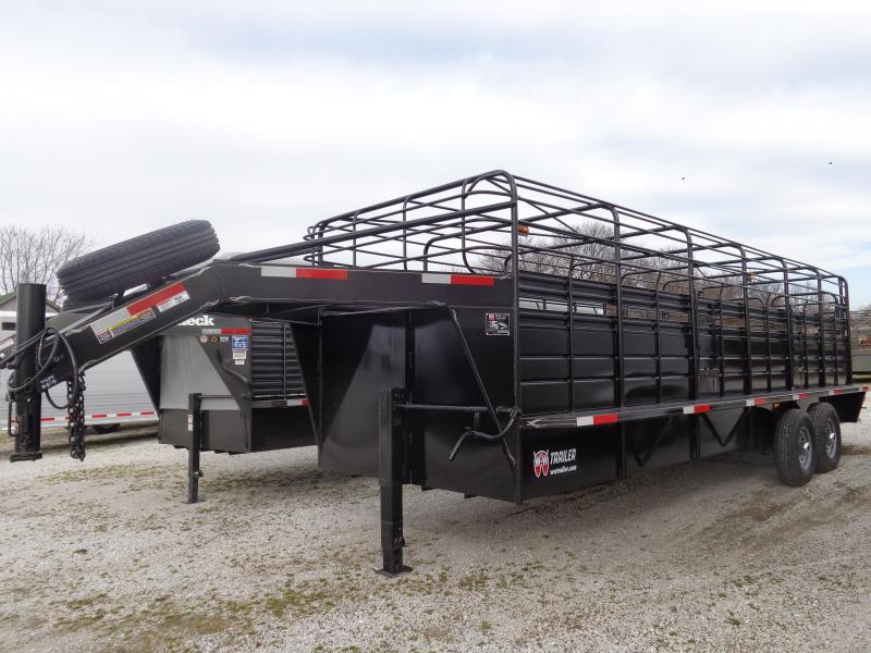 W-W 24 x 6'8 Roustabout Gooseneck Stock Trailer Dark Shadow Gray