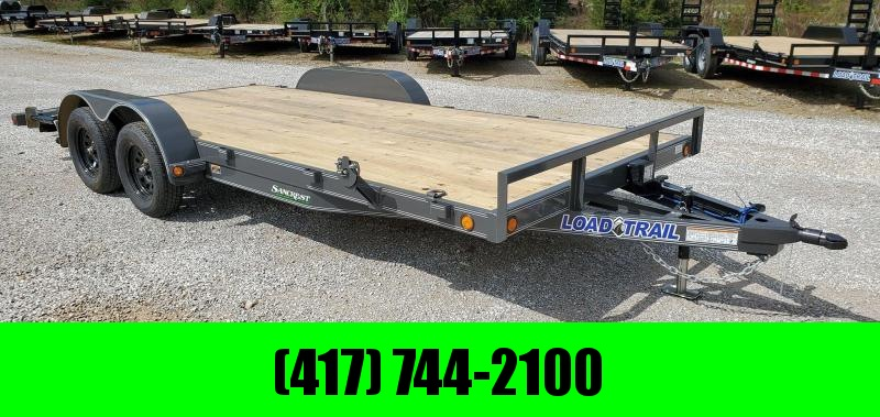 2020 Load Trail 83x18 TANDEM 7K GRAY CAR HAULER W/2' DOVE SLIDE-IN RAMPS & STAB JACKS