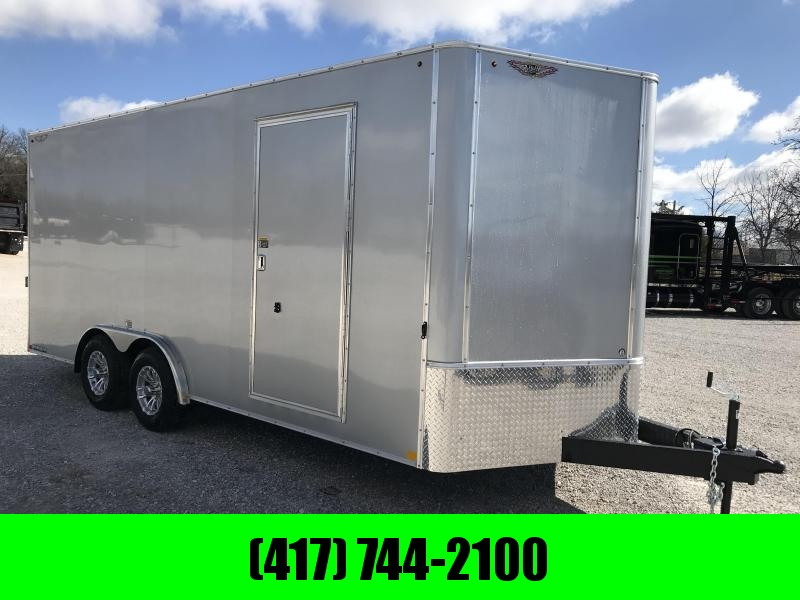 2019 H&H 8X18 TANDEM SILVER METALLIC MIST CARGO W/7' HEIGHT AND 5200 AXLES