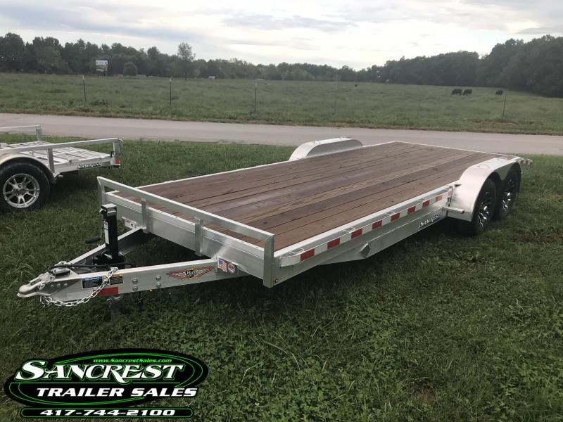 2018 H and H Trailer 82X20 ALUMINUM CAR HAULER W/5200# AXLES/SPARE TIRE MOUNT AND ALUM RIMS