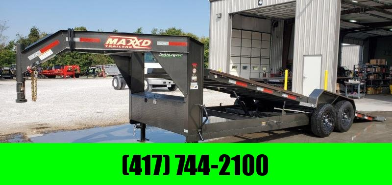 2020 MAXXD 83x22 TANDEM 14K GRAY METALLIC GOOSENECK POWER TILT