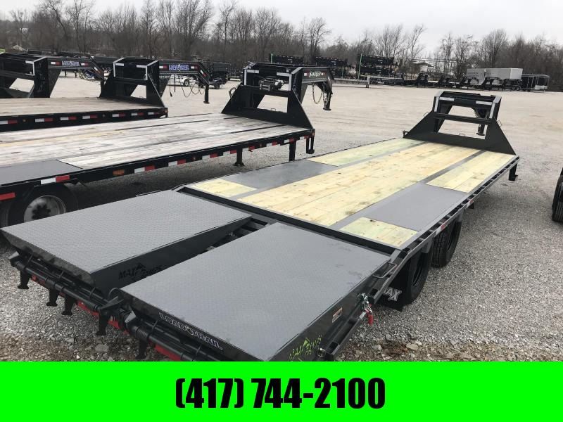 2019 Load Trail 102X28 GRAY LO-PRO Gooseneck Flatbed Trailer W/MAX RAMPS