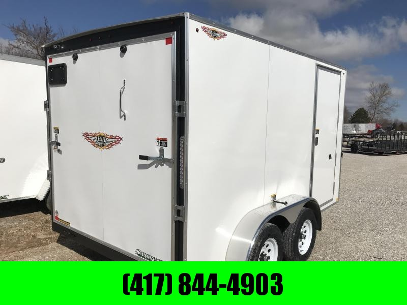 "2019 H&H 7X12 TANDEM WHITE CARGO W/6'6"" HEIGHT"