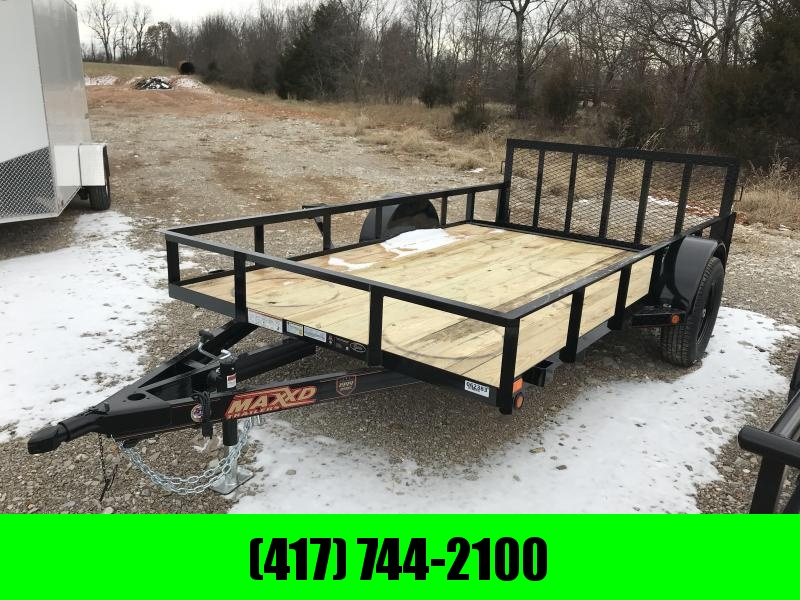 "2019 MAXXD 77X12 SINGLE AXLE UTILITY WITH 2' STEEL DOVETAIL AND 30"" SPRING GATE"