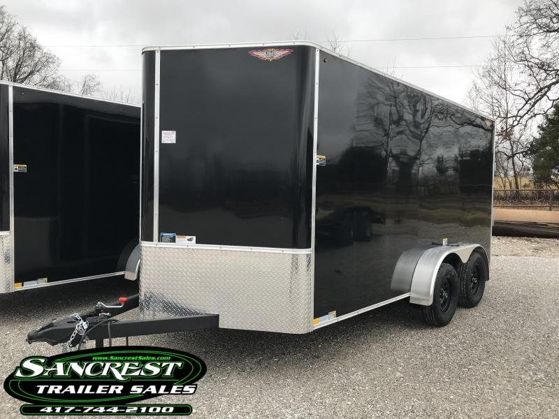 "2019 H and H Trailer 7X14 BLACK TANDEM Enclosed Cargo Trailer W/6'6"" HEIGHT"