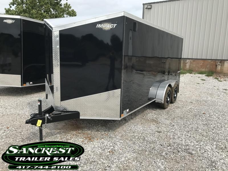 """2019 Impact Trailers 7X16 BLACK Enclosed Cargo W/.040 EXT. EXTRA INT. LIGHTS SLANT NOSE BLOW THROUGH VENTS FLOOR 16"""" O.C W/6' HEIGHT"""
