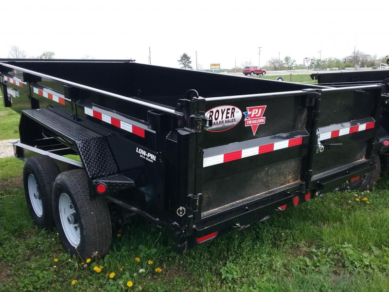 7x14-14K PJ Dump Trailer with Split Spread Gate-Spare Tire Mount and Tarp