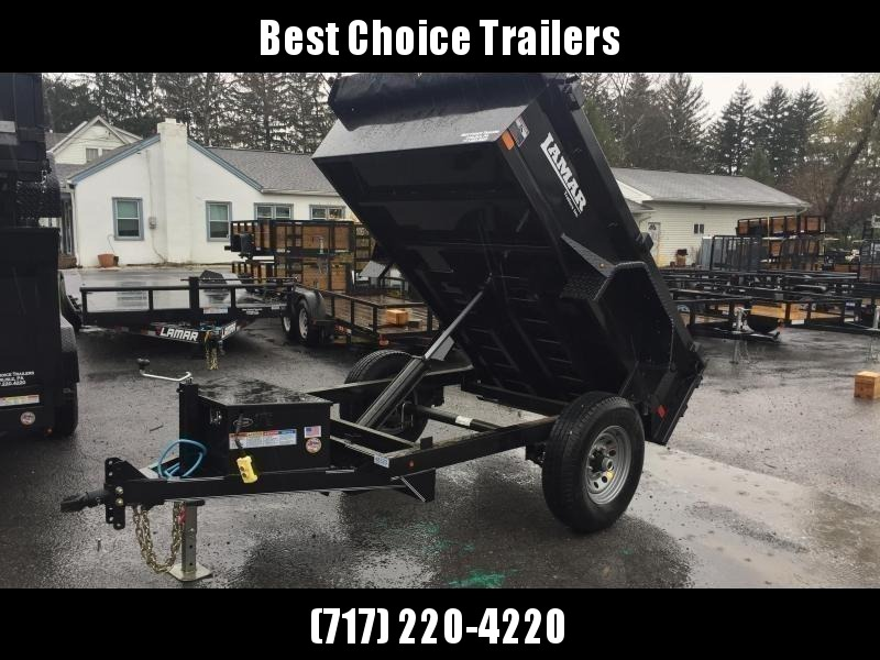 2019 Lamar 5x8' DS60 Dump Trailer 7000# GVW - SINGLE AXLE * RAMPS * CHARCOAL * SPARE MOUNT