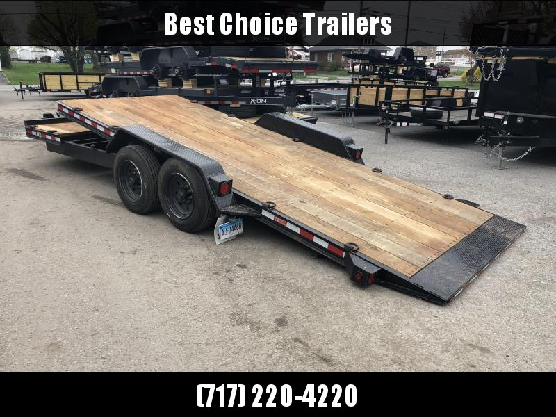 USED 2018 Rolls Rite 17+5' Gravity Tilt Equipment Trailer 16000# GVW * 8000# AXLE UPGRADE * 2 CHAIN TRAYS * DEXTER TORSION * OAK DECK * EXTRA D-RINGS