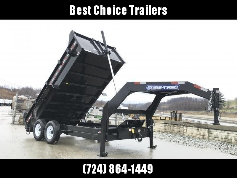 2020 Sure-Trac 7x14' 14000# Low Profile HD GOOSENECK Dump Trailer - TELESCOPIC HOIST