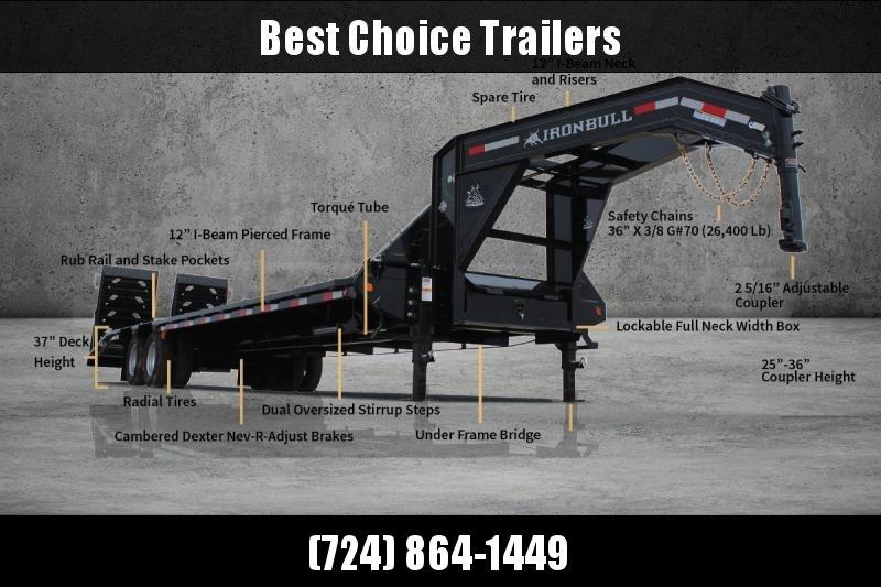 2020 Ironbull 102x24' Gooseneck Beavertail Deckover Trailer 25990# GVW * DEXTER 12K AXLES * FULL WIDTH RAMPS * PIERCED FRAME * SPARE TIRE * UNDER FRAME BRIDGE * RUBRAIL/STAKE POCKETS/PIPE SPOOLS/D-RINGS * DUAL JACKS