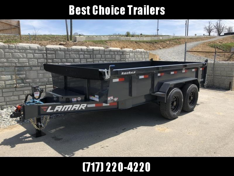 2019 Lamar 7x14' Dump Trailer 14000# GVW - DELUXE * TARP * RAMPS * SPARE MOUNT * 14-PLY TIRE UPGRADE *  12K JACK *  CHARCOAL WITH BLACK WHEELS * OIL BATH HUBS * CLEARANCE
