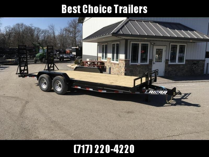 "2018 Lamar 7x18' Equipment Trailer 14000# GVW - Stand Up ramps * 16"" O.C * 4 D-rings * CLEARANCE - FREE ALUMINUM WHEELS"