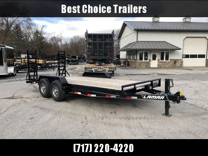 """2018 Lamar 7x18' Equipment Trailer 14000# GVW - Stand Up ramps * 16"""" O.C * 4 D-rings * CLEARANCE - FREE ALUMINUM WHEELS"""
