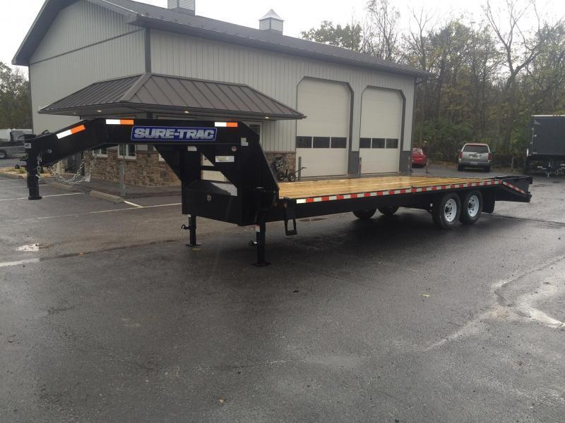 2018 Sure-Trac 102x20+5 17600# Gooseneck Beavertail Deckover Trailer PIERCED FRAME 8000# AXLE UPGRADE