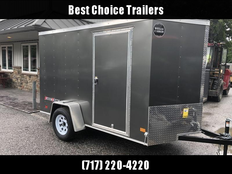 2018 Wells Cargo 6x10' Fastrac Enclosed Cargo Trailer 2990# GVW * CHARCOAL EXTERIOR * RAMP DOOR