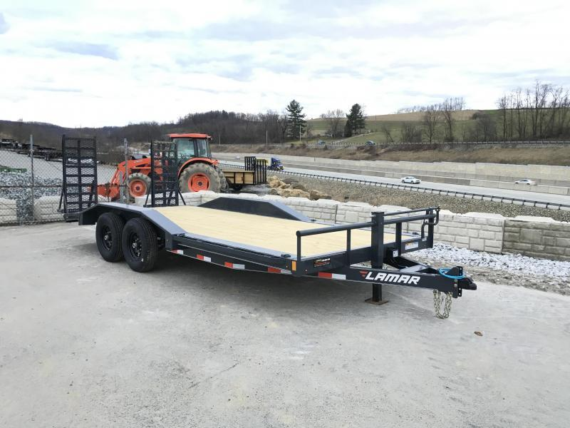 "2018 Lamar 102""x20' Equipment Trailer 14000# GVW - HD RAMPS * CHARCOAL"