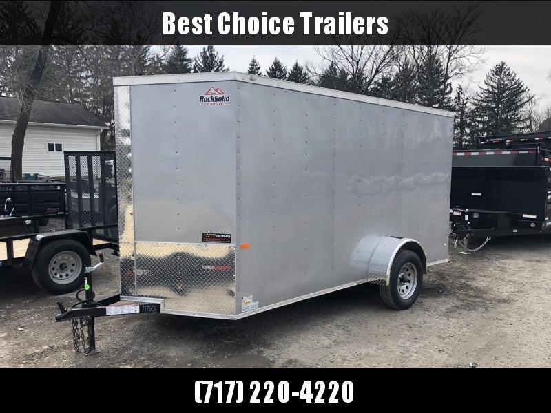 2019 Rock Solid 6x12' Enclosed Cargo Trailer 2990# GVW * SILVER * V-NOSE * RAMP