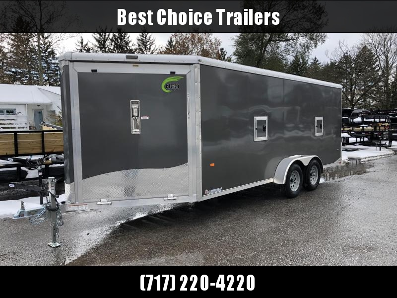 2019 Neo 7x22' Aluminum Enclosed Snowmobile All-Sport Trailer * LOADED MODEL * 3-SLED * CHARCOAL