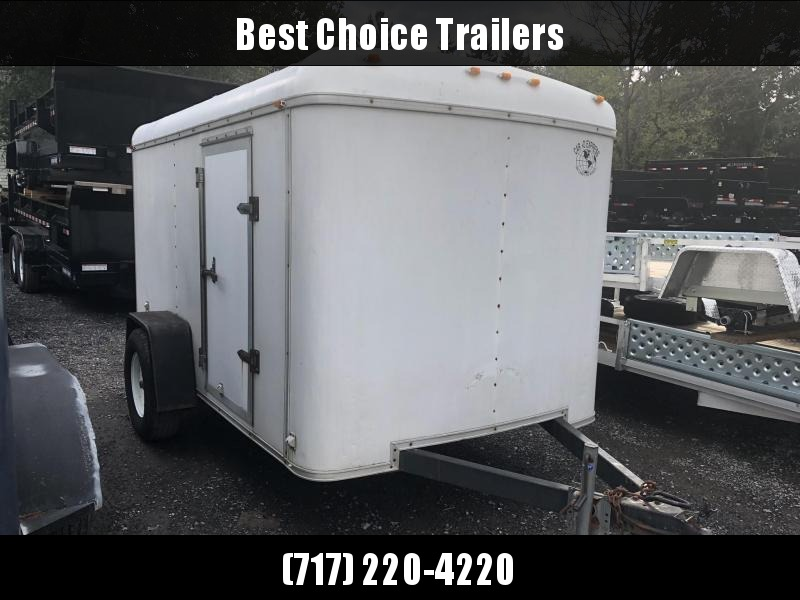 USED Cargo Express 6x10 Single Axle Enclosed Cargo Trailer Barn Doors Round Top White