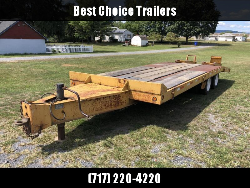 USED 1997 Eager Beaver 102x19+6' Pintle 20-ton Air Brake Beavertail Deckover 40000# GVW * OAK DECK * DECENT PAINT * FRONT TOOLBOX * HUTCH 9700 SUSPENSION