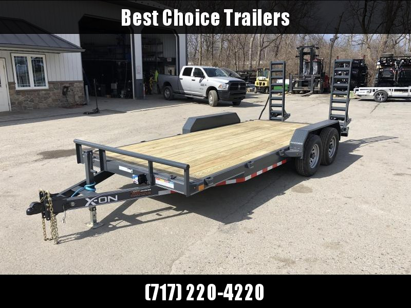 2019 X-On 7x18' Equipment Trailer 9990# GVW * CHARCOAL * STAND UP RAMPS W/ SPRING ASSIST