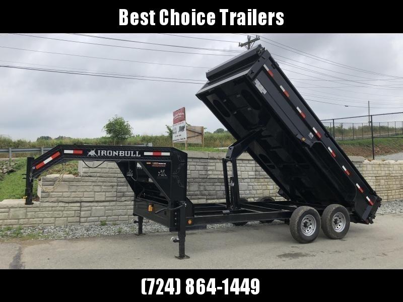 2019 Iron Bull 7x14' Gooseneck Dump Trailer 14000# GVW * FORKHOLDERS * 14-PLY RUBBER