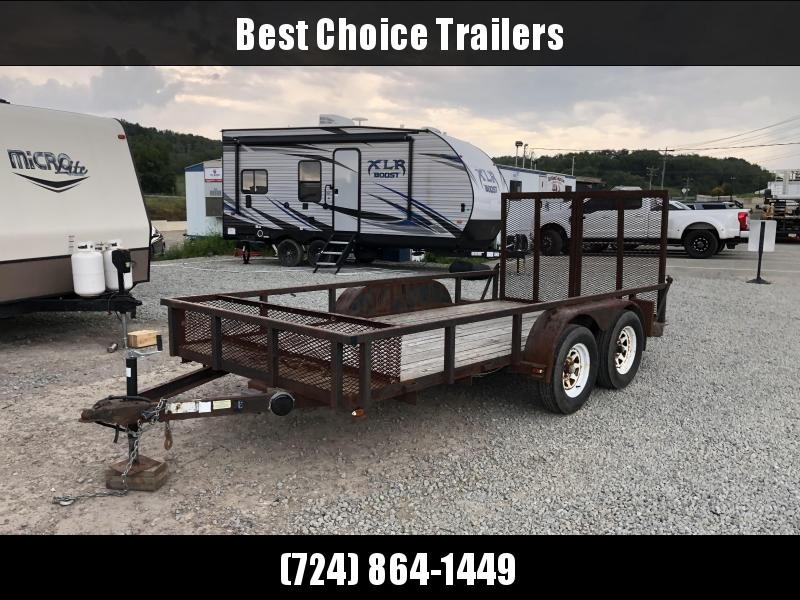 USED 2002 Top Brand 7x16' Utility Landscape Trailer 7000# GVW * TOOLCAGE * SPLIT GATE
