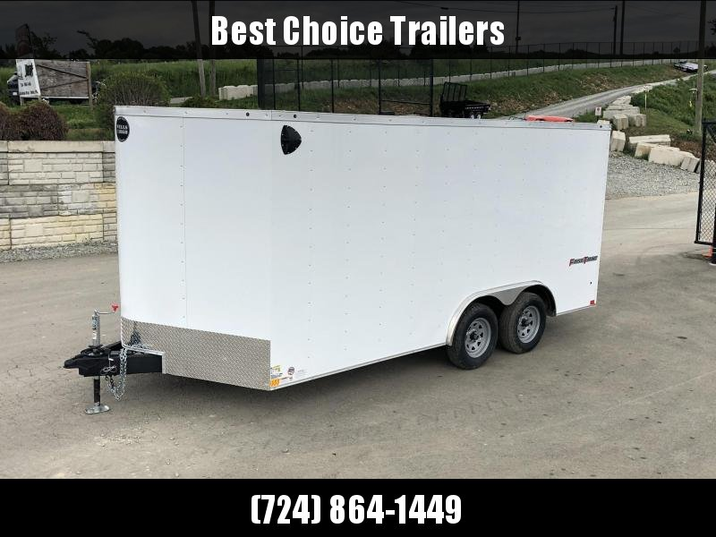 2019 Wells Cargo 8.5x16' Fastrac Enclosed Car Trailer 7000# GVW * WHITE EXTERIOR * RAMP DOOR